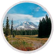 Summer At Mt. Hood In Oregon Round Beach Towel
