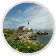 Summer At Portland Head Light Round Beach Towel