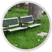 Summer Bench And Dandelions Round Beach Towel