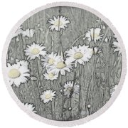 Summer Daisies Round Beach Towel
