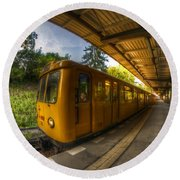 Summer Eveing Train. Round Beach Towel