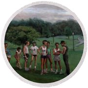 Summer Evening Meet Round Beach Towel