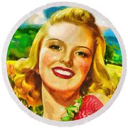 Summer Girl Round Beach Towel by Mo T