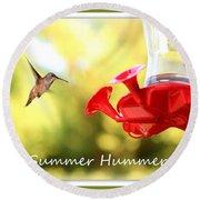 Summer Hummer Poster Round Beach Towel