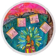 Summer Melodies Round Beach Towel