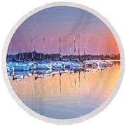 Summer Sails Reflections Round Beach Towel