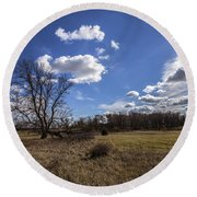 Summer Sky In The Fall Round Beach Towel