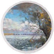 Sun After Storm Round Beach Towel by Ylli Haruni