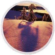 Sun Casting Shadows On Snow Covered Round Beach Towel