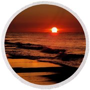 Sun Emerging From The Water Round Beach Towel