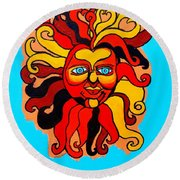 Sun God II Round Beach Towel