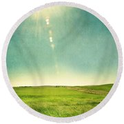 Sun Over Field Round Beach Towel
