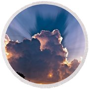 Sun Rays And Clouds Round Beach Towel