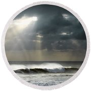 Sun Rays On Ocean Round Beach Towel