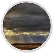 Sun Rays Through Clouds Over Three Old Round Beach Towel
