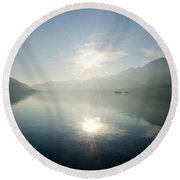 Sun Reflections On A Lake Round Beach Towel