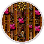 Sun Rose Garden Round Beach Towel