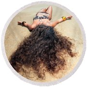Sunbathing Woman Round Beach Towel