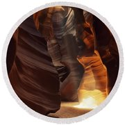 Sunbeam In Antelope Canyon Round Beach Towel