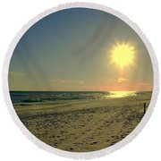 Sunburst At Henderson Beach Florida Round Beach Towel by Susanne Van Hulst