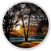 Sundown In Stanley Park Round Beach Towel