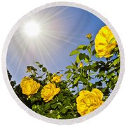 Sunflare And Yellow Roses Round Beach Towel by Amber Flowers