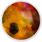 Sunflower 14 Round Beach Towel
