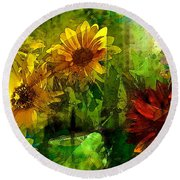 Sunflower 4 Round Beach Towel