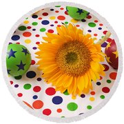 Sunflower And Colorful Balls Round Beach Towel