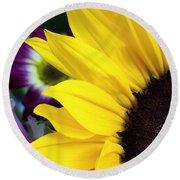Sunflower Closeup Round Beach Towel