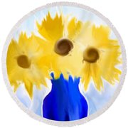 Sunflower Fantasy Still Life Round Beach Towel