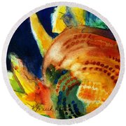 Sunflower Head 3 Round Beach Towel