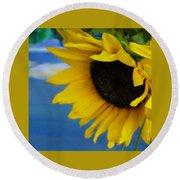 Sunflower One Round Beach Towel