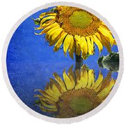Sunflower Reflection Round Beach Towel