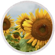 Sunflower Season Round Beach Towel