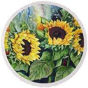 Sunflower Serenade Round Beach Towel