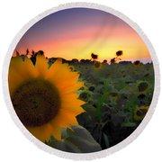 Sunflower Smoothie Round Beach Towel