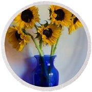 Sunflower Still Life Round Beach Towel