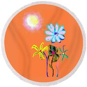 Sunflowered 3 Round Beach Towel
