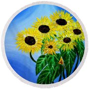Sunflowers 1 Round Beach Towel