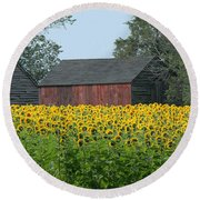 Sunflowers 8 Round Beach Towel
