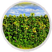 Sunflowers In France Round Beach Towel