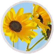 Sunflowers Sky Round Beach Towel