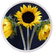 Sunflowers Three Round Beach Towel