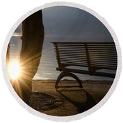 Sunlight And Bench Round Beach Towel