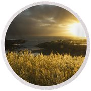 Sunlight Glowing At Sunset And Round Beach Towel