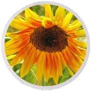 Sunny Bright Sunflower Round Beach Towel