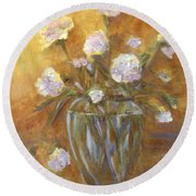 Sunny Carnations In A Vase Round Beach Towel