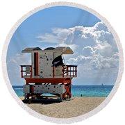 Sunny Day Miami Beach Round Beach Towel