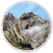 Sunny Mountain Afternoon Round Beach Towel